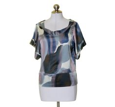 The Limited White Blue Purple Print Satin Artsy Scoop Blouse Top Size XS