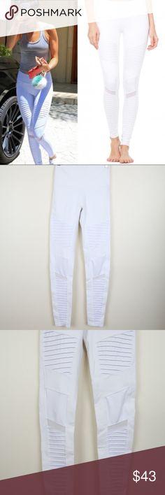b98ab4c230 ALO Yoga High Waist Moto Leggings M Alo Yoga High Waist White Moto Leggings  with sheer
