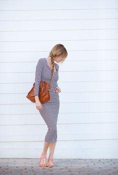 i love the longer hems on dresses these days--fresh and surprisingly flattering