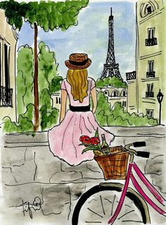 """""""Bicycle Touring Paris"""" Painting by Fifi Flowers – traditional – artwork – by Etsy Red Rock Canyon Electric Bike Tour Skip the Line - Sunset Eiffel Tower Tour Illustration Parisienne, Illustration Art, Paris Kunst, Art Parisien, Paris Painting, Little Paris, Traditional Artwork, Paris Mode, Bicycle Art"""