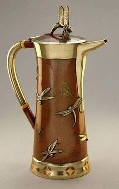 Love this Tiffany Coffee Pot with free floating dragon flies, ca. 1870's!