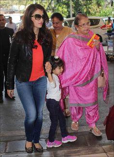 Aishwarya Rai Bachchan with her mother and daughter at Mumbai airport