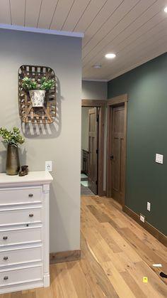 Paint Colors For Basement, Cabin Paint Colors, Basement Painting, Room Paint Colors, Paint Colors For Home, Green Living Room Paint, Green Bedroom Paint, Green Painted Walls, Living Room Colors