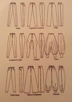 #pantalon #style #couture Fashion Terminology, Fashion Terms, Fashion Sewing, Diy Fashion, Ideias Fashion, Fashion Design Drawings, Fashion Sketches, Fashion Dictionary, Fashion Vocabulary