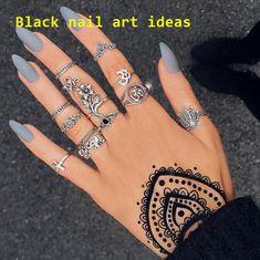 20 SIMPLE BLACK NAIL ART DESIGN IDEAS  #nailideas