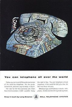 World Map Graphics Novelty Bell Telephone System 1964 Ad Desk Phone