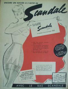 PUBLICITE-DE-PRESSE-FEVRIER-1952-GAINE-SCANDALE-PAULIN-ILLUSTRATEUR-LESPUBS