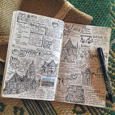 Ideas For Travel Drawing Sketches Moleskine Travel Sketchbook, Arte Sketchbook, Kunstjournal Inspiration, Bullet Journal Inspiration, Motivation Inspiration, Moleskine, Book Journal, Art Journals, Travel Journals
