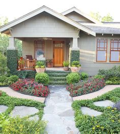 Architectural details and thoughtful garden touches take an exterior from lackluster to charming: http://www.bhg.com/home-improvement/exteriors/curb-appeal/craftsman-style-home-ideas/?socsrc=bhgpin031114carefullycoordinated&page=2