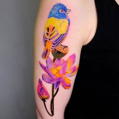 26 Lotus Flower Tattoo Designs and Meanings - Peaceful Hacks Purple Lotus Tattoo, Purple Flower Tattoos, Bird And Flower Tattoo, Small Lotus Tattoo, Lotus Flower Tattoo Design, Blue Lotus Flower, Lotus Design, Couples Tattoo Designs, Tattoo Designs And Meanings