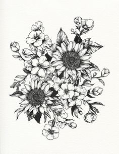 In progress - sunflowers and geraniums for Sofia (technicolorlover) This image is a design for a tattoo. Please respect my client and do not...