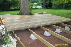 Floating Deck Ideas They sell the supports at Lowes and Home Depot fairly cheap. Boardwalk patio under cherry tree Backyard Projects, Outdoor Projects, Backyard Patio, Backyard Landscaping, Wood Patio, Pallet Patio Decks, Ipe Wood, Patio Roof, Landscaping Ideas