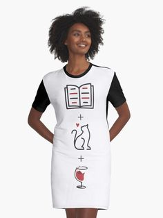 All You Need - Book, Cat, Wine T Shirt Dress.  All you need in life is a good book, a purrfect cat and a lovely glass of wine.  Enjoy your evening and rest days with your book, cat and wine.  #kittylove #books #catlover #bookworm #booklover #redwine #winelovers #catlove #winegeek #giftideas #fashion #homedecor #artsandcrafts #stickers #redbubblestickers #redbubble #art #redbubbleshop #ad @giftsbyminuet Cat Wine, Red Bubble Stickers, Rest Days, Good Books, Chiffon Tops, Classic T Shirts, Shirt Dress, Group, Cats