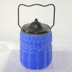 Antique French opaque blue glass biscuit jar Unique 1900-1940 #Directoire #unknown