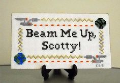 Star Trek Cross Stitch  Beam Me Up Scotty  Finished by KMSORIGINAL
