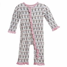 Kickee Pants Ruffle Coverall in Natural Cherry Tree