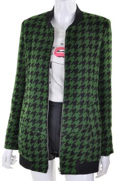 Houndstooth Green Coat #Romwe