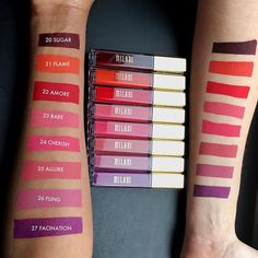CRAPPY formula, but pretty colours. Eight new Amore Matte Lip Crème shades Milani Liquid Lipsticks Swatches