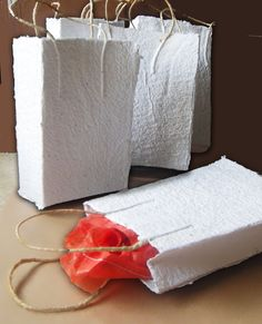 handmade paper gift bags with natural string, and rough edge unique gift bag and presentation on Etsy, $10.88 AUD