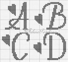 Cross Stitch Letter Patterns, Cross Stitch Letters, Cross Stitch Flowers, Cross Stitch Designs, Cross Stitch Embroidery, Crochet Alphabet, Crochet Letters, Ladder Stitch, Knitting Charts
