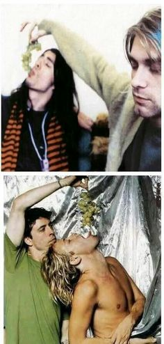 Dave Grohl and Kurt Cobain. Dave Grohl and Taylor Hawkins.