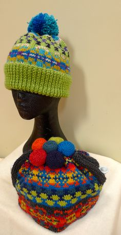 Tea Cosy and Beanie using the same Fair Isle charts and different colour scheme. Knitted Tea Cosies, Knitted Hats, Fair Isle Chart, Cosy, Charts, Color Schemes, Captain Hat, Colour, Pattern