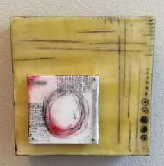 Encaustic on 8x8 board, wax, tissue paper, nails, pan pastels, oil stick by Marjie Stalcup Miller