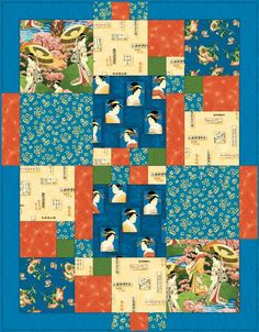 Japanese Afternoon Quilt - love the layout to showcase some fabrics and use up small scraps of others
