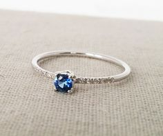 Solitaire engagement ring, Sapphire engagement ring, Diamond engagement ring, White gold engagement ring, Unique, 14K, Delicate, Wedding