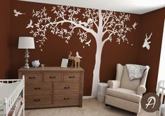 Large Tree Ash Tree Nursery Kids Bedroom Sweet Decor Wall Sticker Removbale Tree With Birds And Squirrel Art Wall Mural D-309