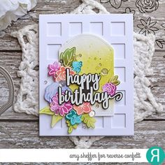 Card by Amy Sheffer. Reverse Confetti stamp set: Sentiment Essentials. Confetti Cuts: Sentiment Essentials, Pierced Round Top Layers and Squared Off Cover Panel. RC Inks:Olive, Parakeet, Pistachio, Bellini, Coral, Magenta, Wisteria, Blueberry, and Lagoon. Birthday card.