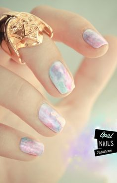 Opal Nails Tutorial - This is all in French. There is a video that shows what she is doing. Did a little research, and she is mixing the nail polish with non-acetone to apply with brush over the white nails. Then apply your top coat. Nail Art Hacks, Easy Nail Art, Spring Nail Art, Spring Nails, Nail Art Aquarelle, Love Nails, How To Do Nails, Pretty Nails, Opal Nails