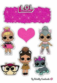 Happy b day Party Printables, Free Printables, Lol Doll Cake, Princess Cake Toppers, Leelah, Cake Templates, Doll Party, Lol Dolls, Paper Dolls