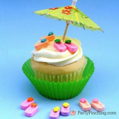 Summertime cupcakes that are super easy to make topped with Teeny Tiny candy flip flops that are so flippin'cute! You will need: Pez candies Melted white chocolate Flower sprinkles Toothpick 1. Dip toothpick into melted white chocolate. 2. Place a small amount of chocolate on the top end of the Pez candy with the toothpick....Read More »