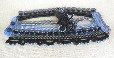 Cuff Bracelet Blue Black Bracelet Cuff by SvetlanaCrochet on Etsy