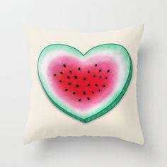 Summer Love - Watermelon Heart Throw Pillow by Perrin Le Feuvre - $20.00
