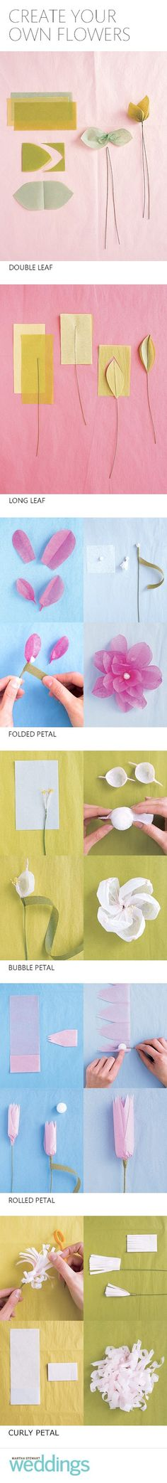 Tissue paper flowers and leaves