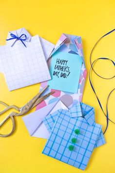 DIY Origami Paper Shirt Card for Father's Day - Make a simple folded shirt and customize with embellishments for a card custom-made for the dad in your life!
