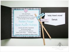 striped and heart wedding invite // miss prissy paige