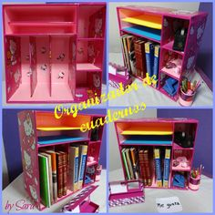 organizador de cuadernos o libros Más Kids Craft Storage, Diy Storage Boxes, Diy Crafts For Girls, Diy And Crafts, Decor Crafts, Paper Flowers Diy, Diy Paper, Upcycle Home, Interior Design Presentation