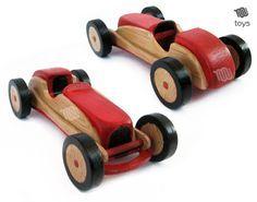 Estilizado rojo Racing car juguete de madera por WoodHandcraft