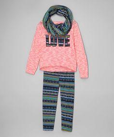 Loving this Pink 'Love' Sweatshirt Set - Girls on #zulily! #zulilyfinds