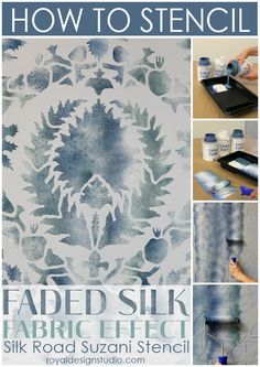 Stencil a faded silk fabric effect with the Suzani Silk Road stencil from Royal Design Studio stencils.