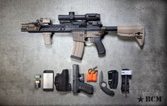 "bravocompanyusa: BCM Close Shave Kit Carbine: 10.5"" Rainier Arms 300 BLK OUT Barrel, GDI R-Com Mount with Trijicon VCOG, BCMGunfighter KeyMod™ Vertical Grip, LDI DBAL A2, BCMGunfighter Stock, BCMGunfighter Grip Mod 3, Haley Strategic WML with Thorntail Keymod Mount, CTT Solutions Mag Cap, BCMGunfighter Charging Handle Mod 4 and BCMGunfighter Comp Mod 1 - 7.62. Other stuff: Firefly Strobe, iPhone, Haley Strategic Incog Holster, Glock 19, VS-17 Signal Panel, The Colonel and C-A-T Tourniq..."