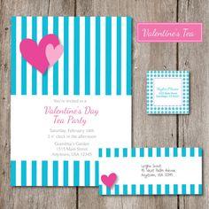 Valentine Tea Party Invitation by sweetpopstudio, $16.50