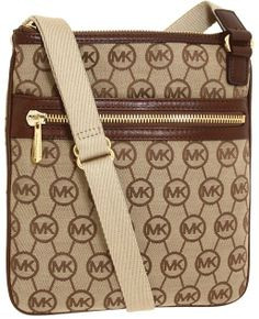MICHAEL Michael Kors Jet Set Monogram Large Crossbody (Beige/Ebony/Mocha) - Bags and Luggage on shopstyle.com