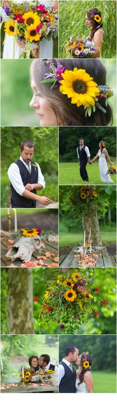 A Garden Party Florist - Bohemian Wedding Florist - Love Story Studios - sunflowers - boho chic - summer wedding