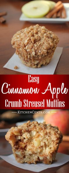 These delicious Cinnamon Apple Crumb Streusel Muffins have a moist cinnamon apple center with a sweet, crumb-y cinnamon streusel topping, and are ready in 30 minutes or less.