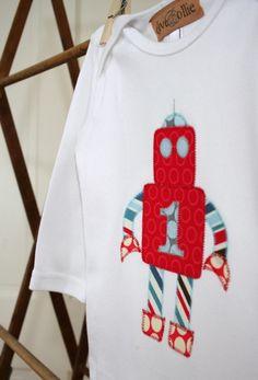 Cute robot applique design