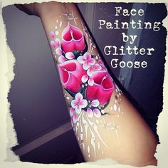 Calla Lillies! Lily face painting by Glitter Goose. Flowers paint arm body art ideas.